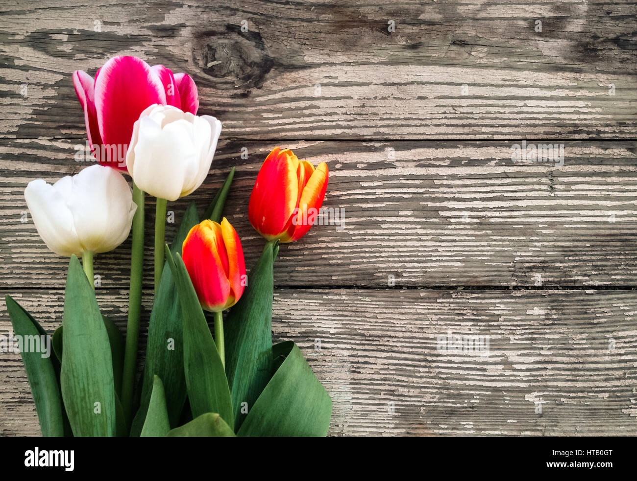 Fall Flowers For Wedding Tulips Flowers Bunch On Dark Barn Wood Planks Background