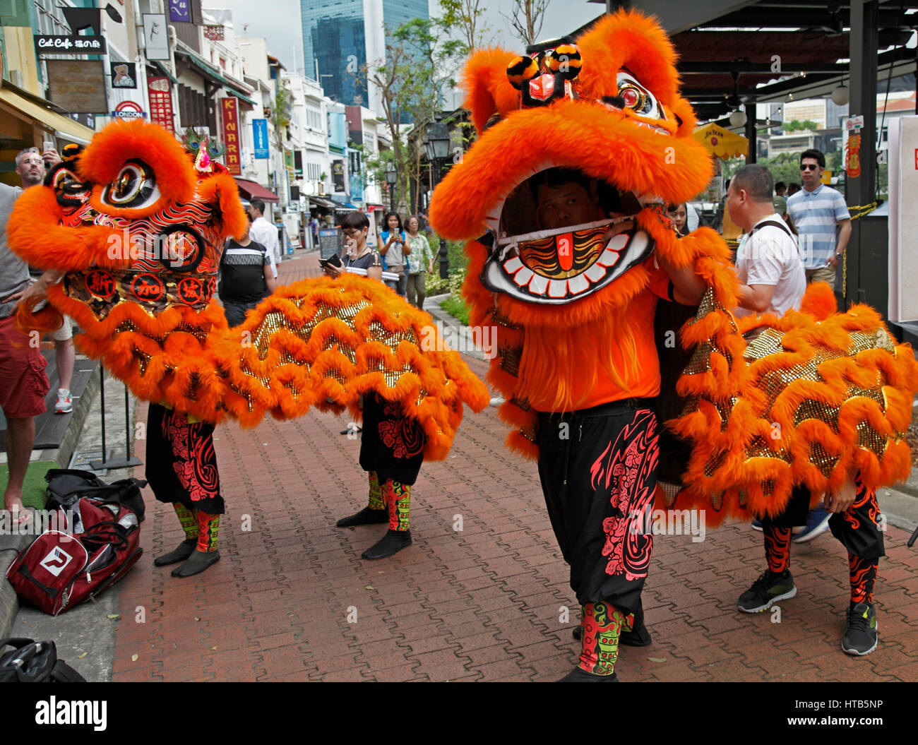 Singapore, Chinese New Year, lion dance, people Stock ...
