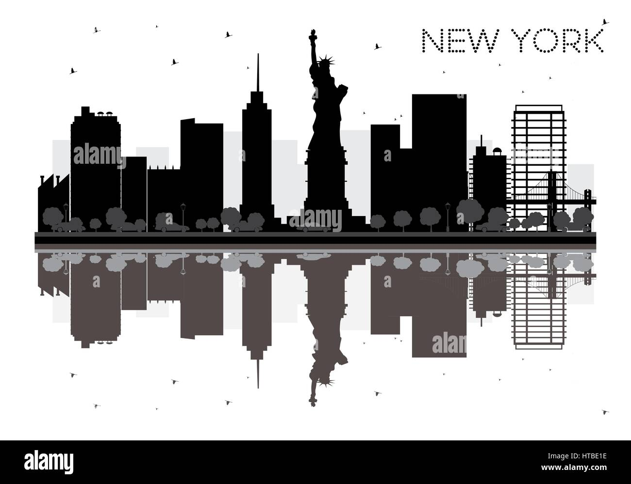 Cityscape Wall Stickers New York City Skyline Black And White Silhouette With