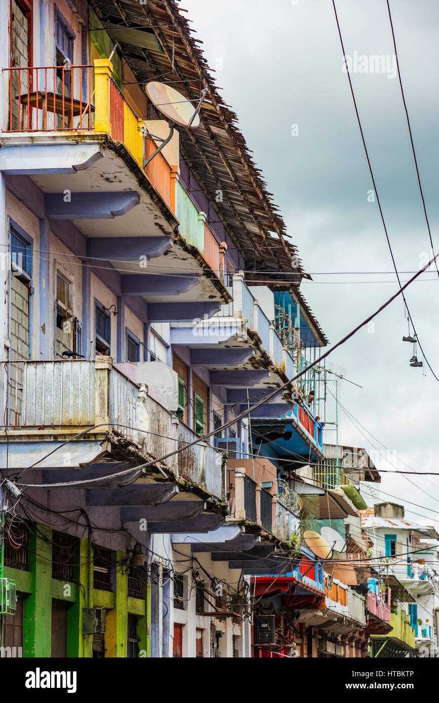 A Street View In The Casco Viejo Area Of Panama City With Wires - Satellite street view