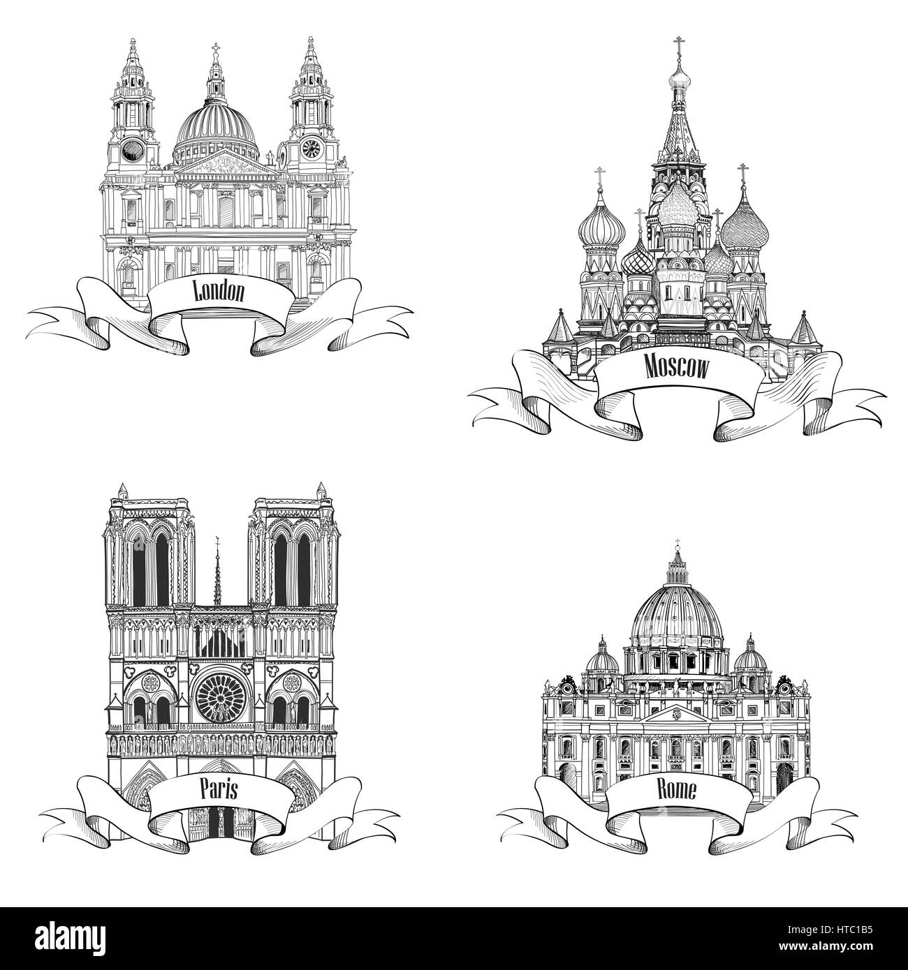 Travel europe vector set famous european landmarks collection city travel europe vector set famous european landmarks collection city symbols paris notre dame cathedral london st paul cathedral rome st pete biocorpaavc Choice Image
