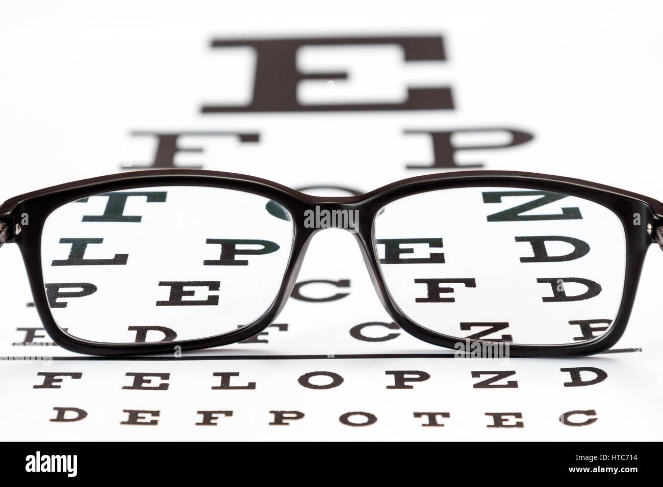 Glasses on a eye exam chart to test eyesight accuracy stock photo glasses on a eye exam chart to test eyesight accuracy nvjuhfo Choice Image