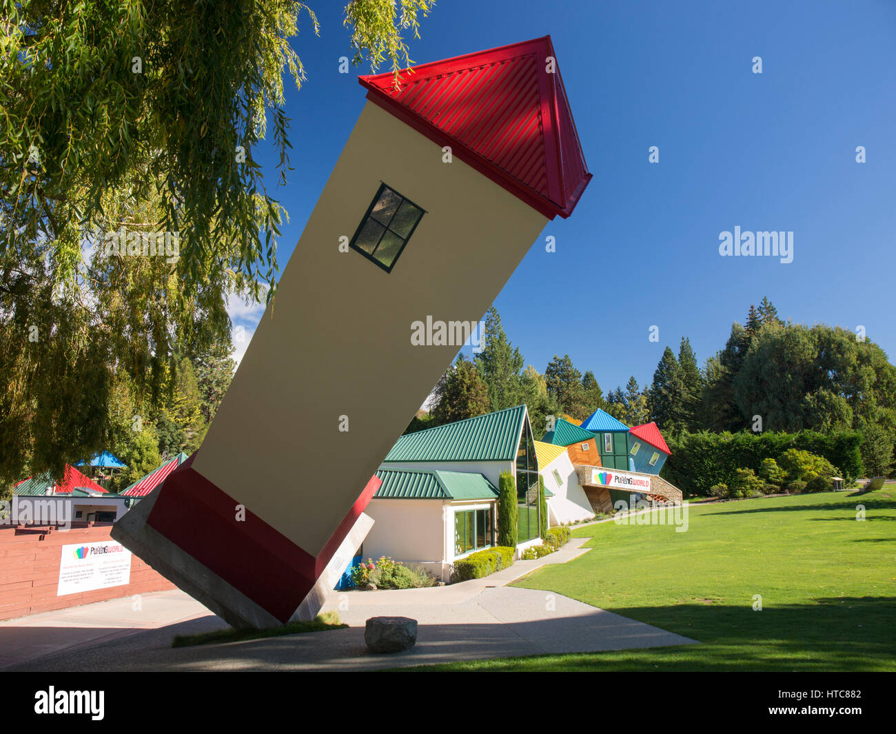 Wanaka, Otago, New Zealand. Leaning tower in the gardens ...