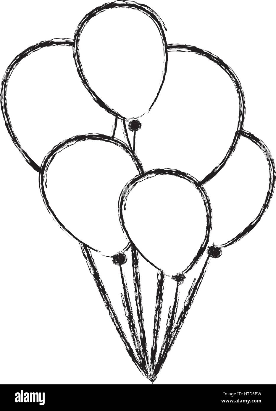 blurred silhouette sketch set flying balloons decorative icon
