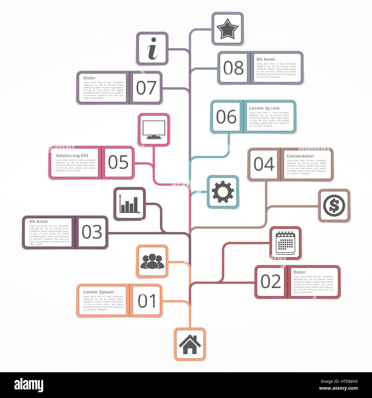 tree diagram template with numbers icons and place for your text, Wiring diagram