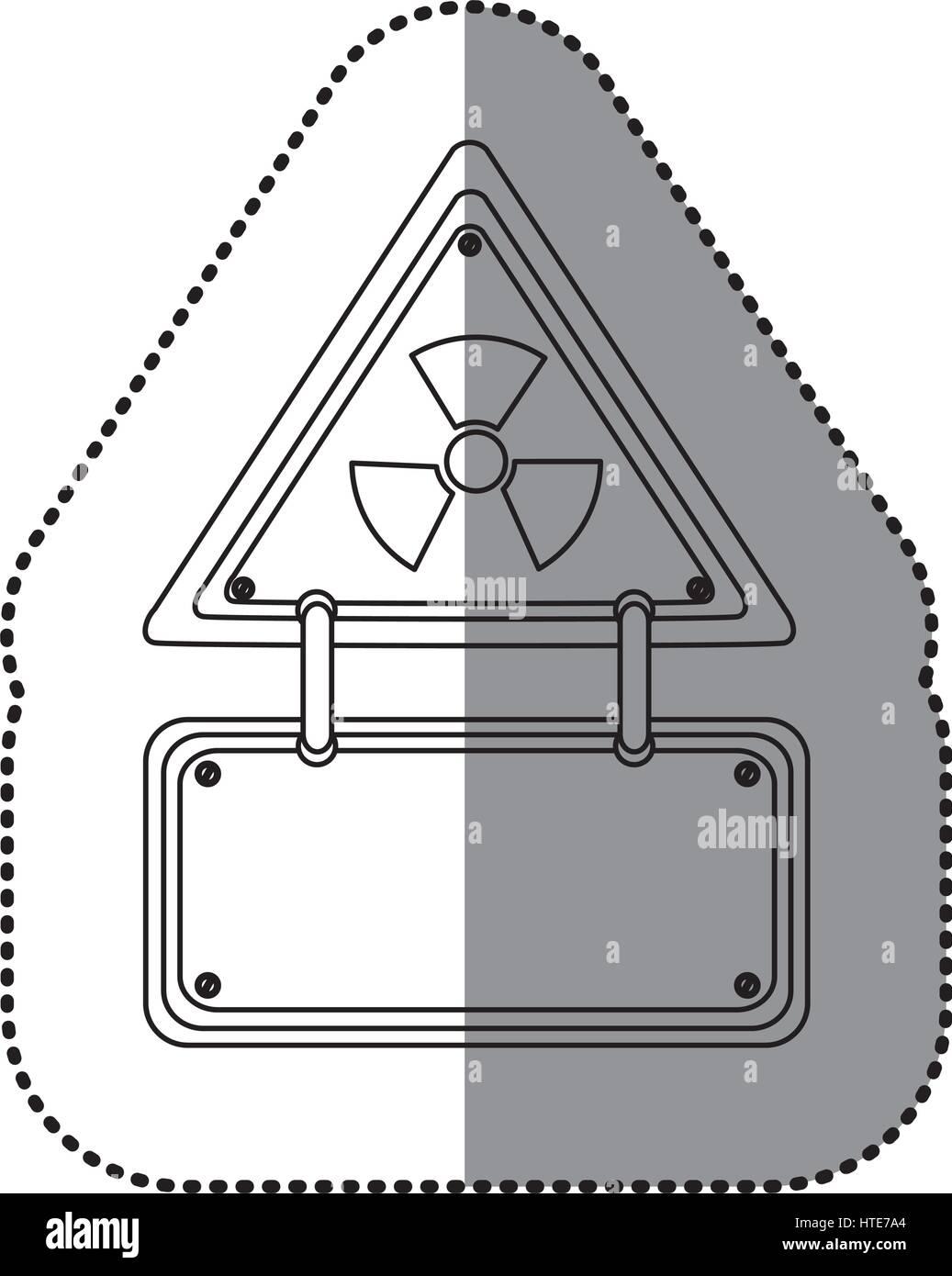 Monochrome silhouette sticker with warning triangle with monochrome silhouette sticker with warning triangle with radioactive symbol and rectangular plate buycottarizona