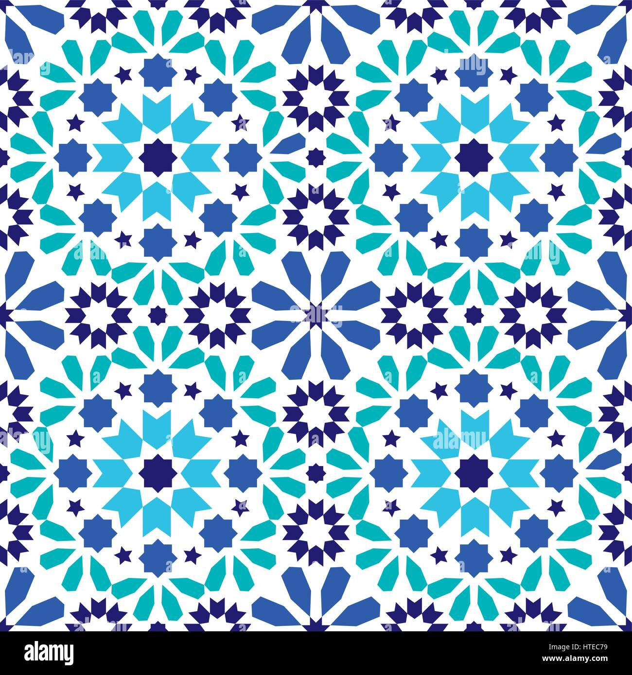 Vector of moroccan tile seamless pattern tile for design tile - Geometric Seamless Pattern Moroccan Tiles Design Seamless Blue And Turquoise Tile Background
