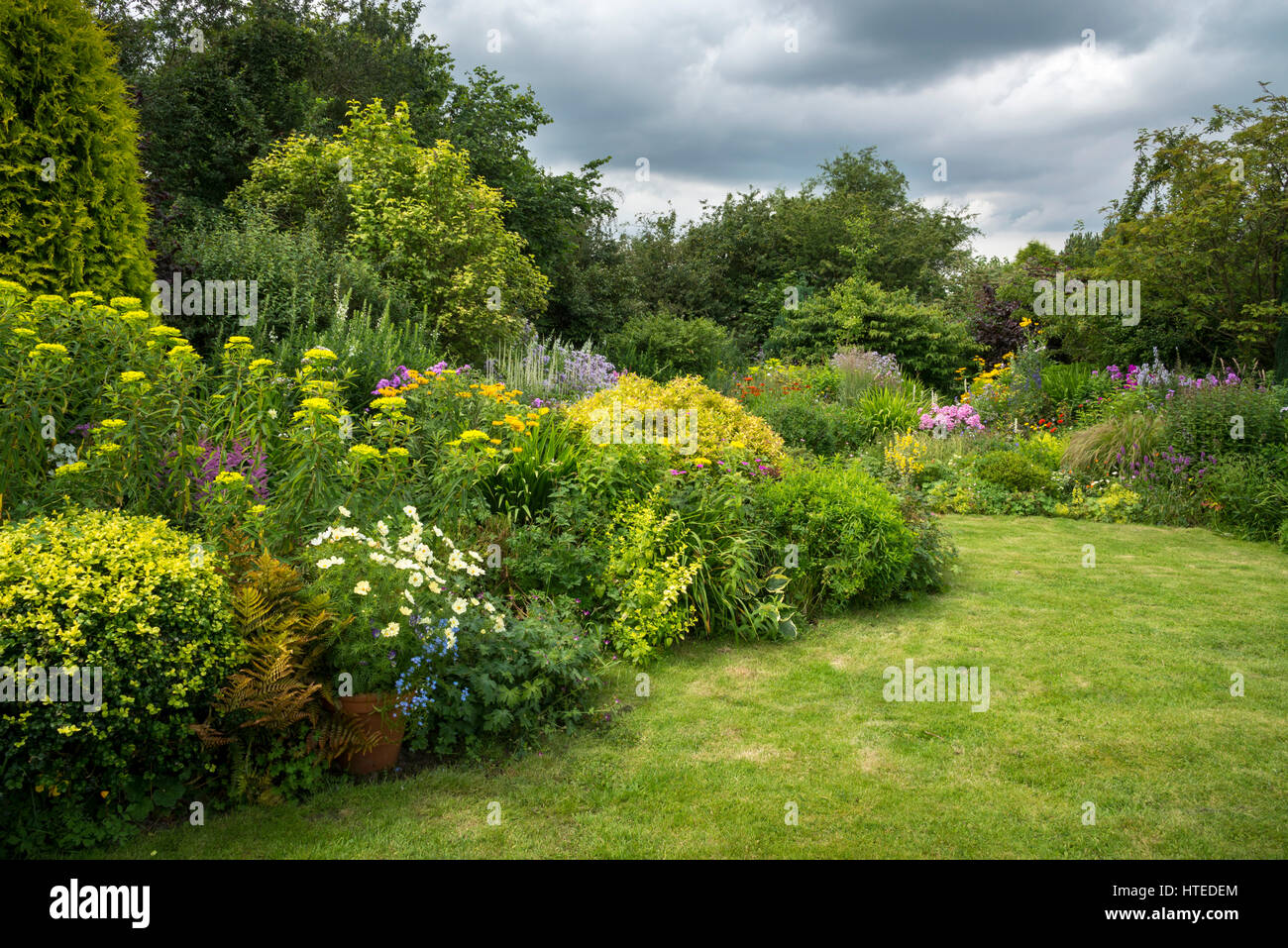 Colourful flower borders in a cottage garden style mixed for Shrubs for garden borders