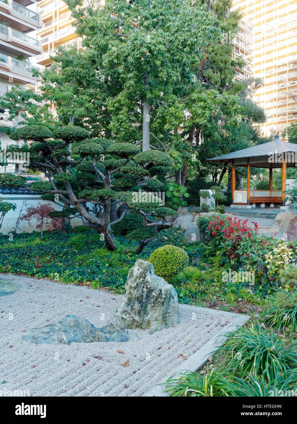 Monaco, Montecarlo, French Riviera, Japanese Garden Stock
