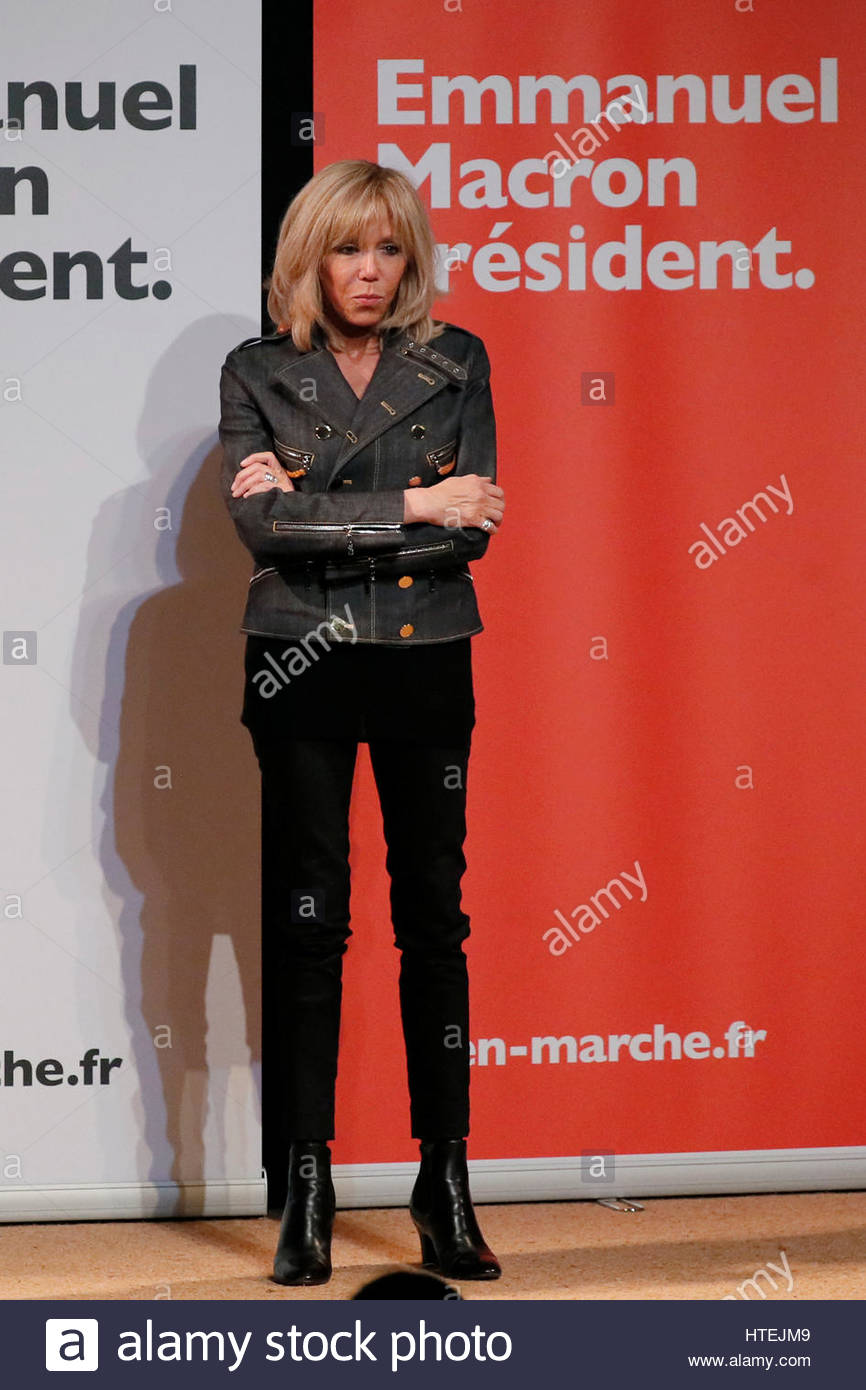 Brigitte Trogneux, wife of Emmanuel Macron, head of the political ...
