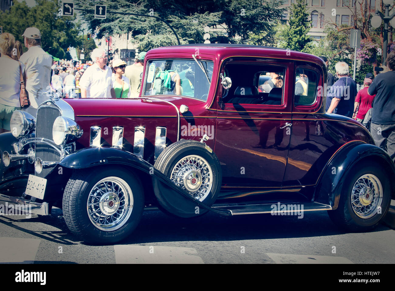 Editorial of an old cars show from the beautiful city of Victoria ...