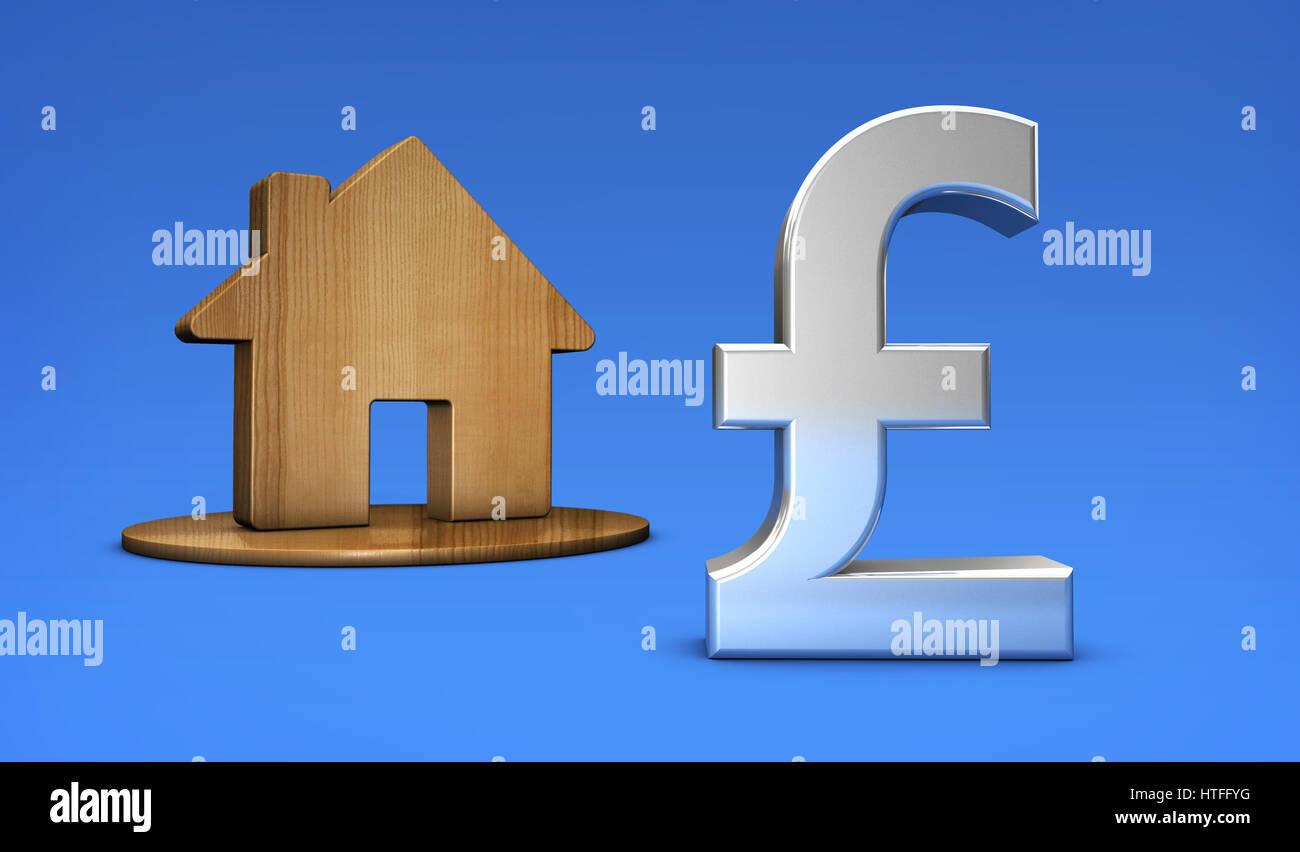 British pound symbol and home icon uk property value and house british pound symbol and home icon uk property value and house market prices concept 3d illustration buycottarizona