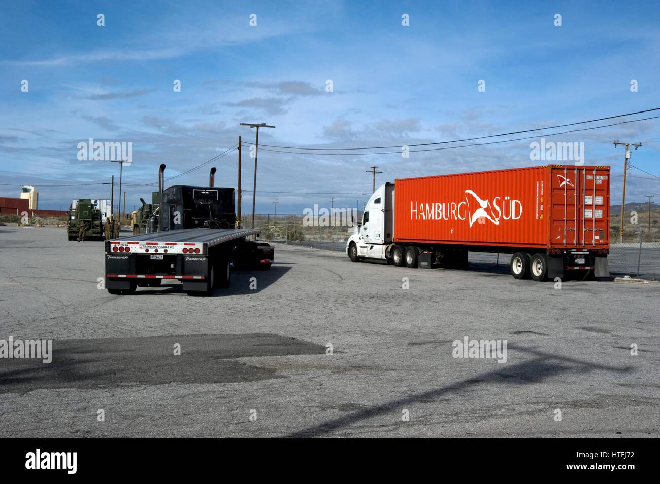 Stock photo truck stop on interstate 10 near cabazon california