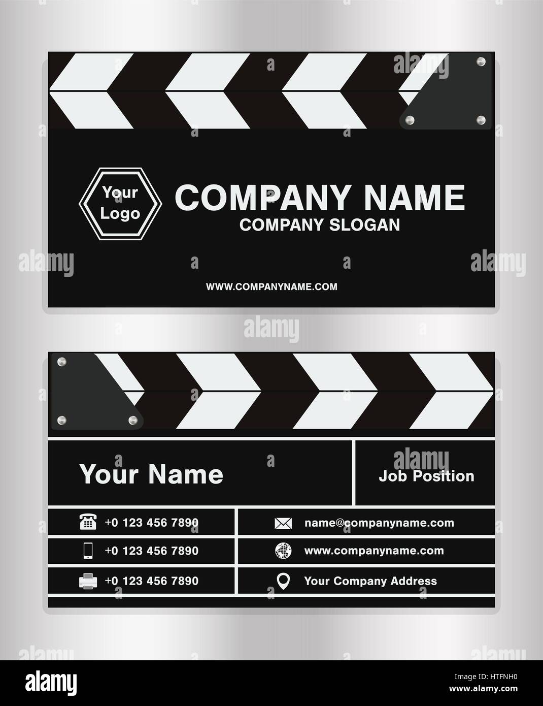 simple clapperboard theme business name card template for movie ...