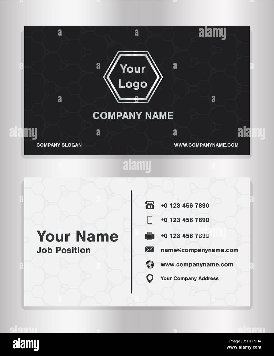 simple black and white theme business name card template vector ...