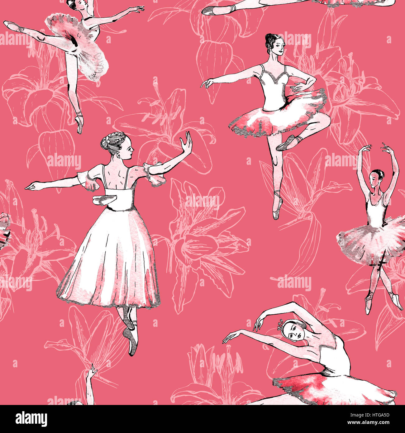 Seamless pattern of ballet dancers royalty free stock photography - Seamless Pattern Of Ballet Dancers And White Lilies Freehand Drawing Watercolor Painting Isolated On Pink Background Fabric Texture Wallpaper