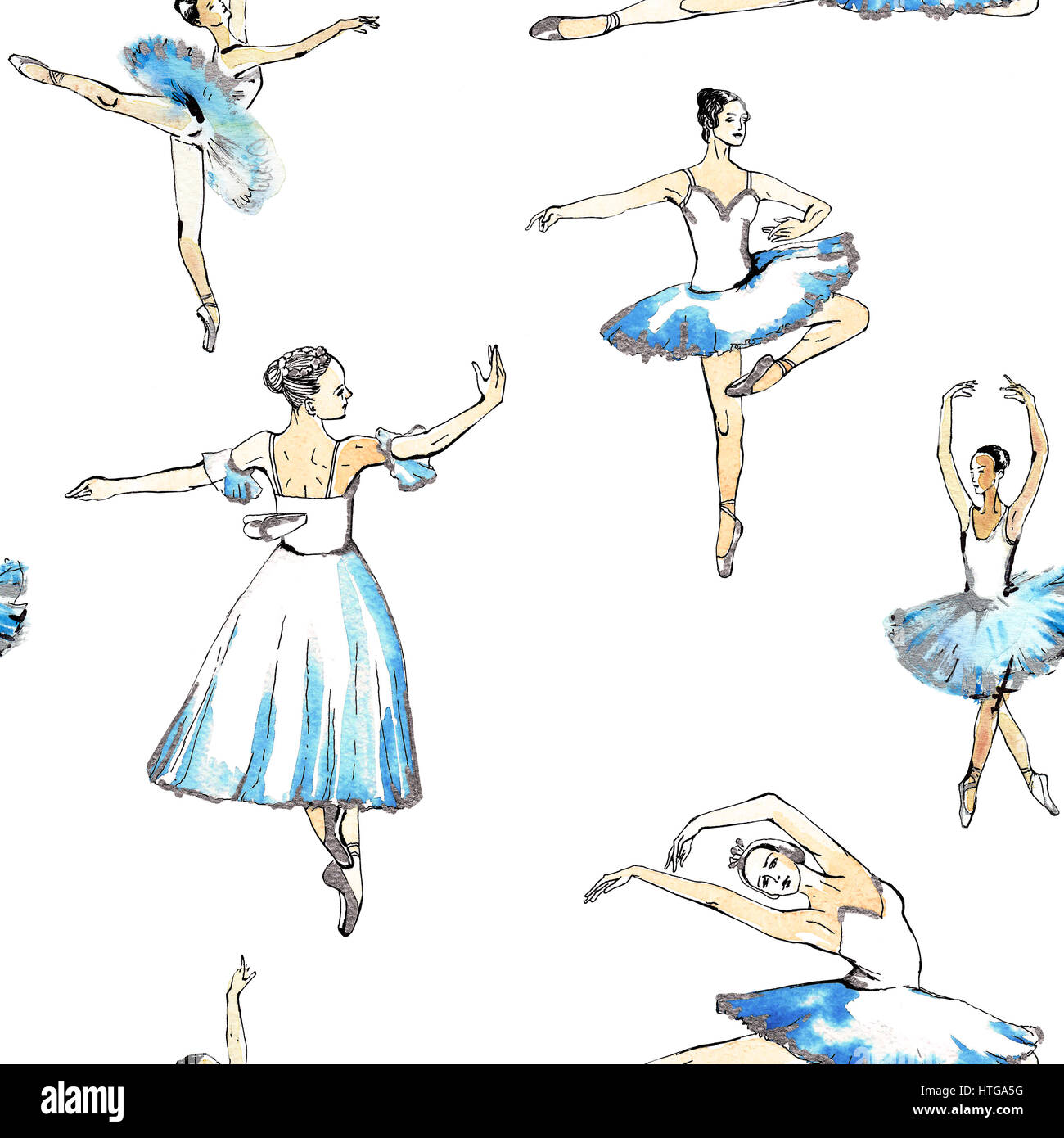 Seamless pattern of ballet dancers royalty free stock photography - Seamless Pattern Of Ballet Dancers Black And Silver Drawing Watercolor Painting Isolated On White Background Fabric Texture Wallpaper