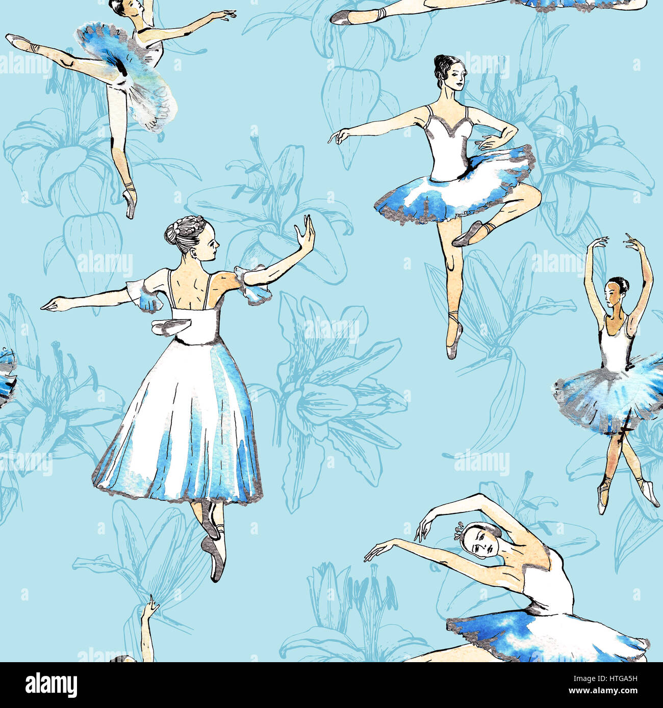 Seamless pattern of ballet dancers royalty free stock photography - Seamless Pattern Of Ballet Dancers And Lilies Freehand Drawing Watercolor Painting Isolated On Blue Background Fabric Texture Wallpaper