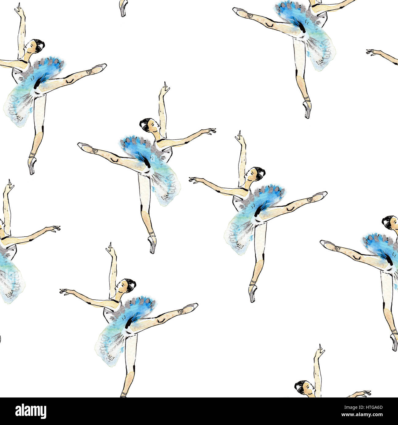 Seamless pattern of ballet dancers royalty free stock photography - Seamless Pattern Of Ballet Dancers In Arabesque Pose Black And Silver Drawing Watercolor Painting