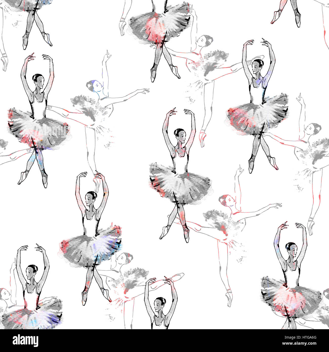 Seamless pattern of ballet dancers royalty free stock photography - Seamless Pattern Of Ballet Dancers Black And Silver Drawing Watercolor Painting Monochrome With