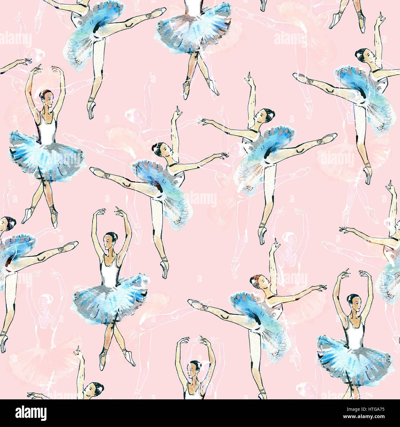 Seamless pattern of ballet dancers royalty free stock photography - Seamless Pattern Of Ballet Dancers Black White And Silver Drawing Watercolor Painting Isolated On Pink Background Tabuday Alamy Stock Photo