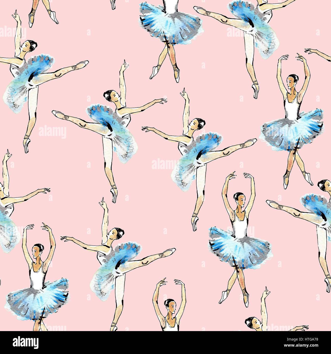 Seamless pattern of ballet dancers royalty free stock photography - Seamless Pattern Of Ballet Dancers Black And Silver Drawing Watercolor Painting Isolated On Pink Background Tabuday Alamy Stock Photo
