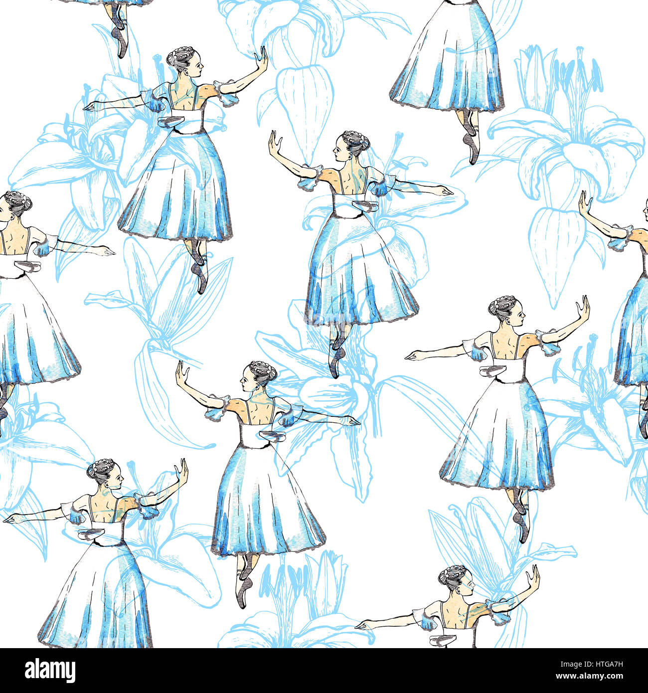 Seamless pattern of ballet dancers royalty free stock photography - Seamless Pattern Of Ballet Dancers And Lilies Black And Silver Drawing Watercolor Painting