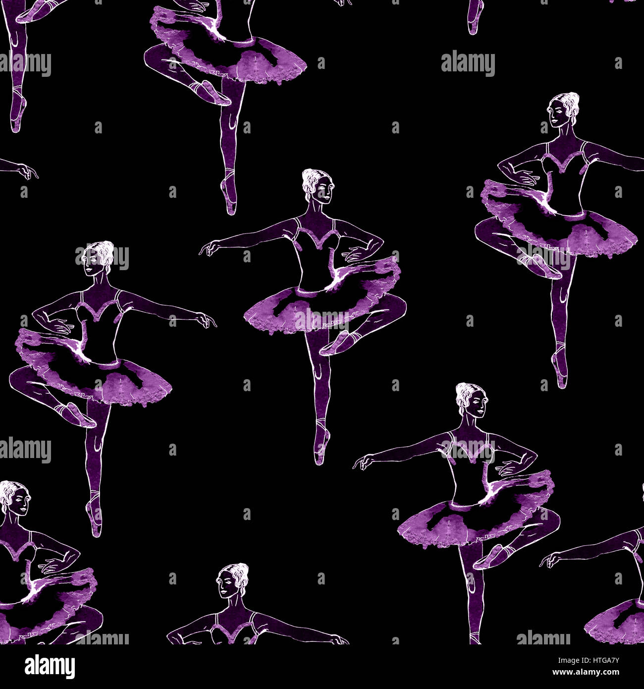 Seamless pattern of ballet dancers royalty free stock photography - Seamless Pattern Of Purple Ballet Dancers Freehand Drawing Isolated On Black Background Fabric Texture Wallpaper Tabuday Alamy Stock Photo