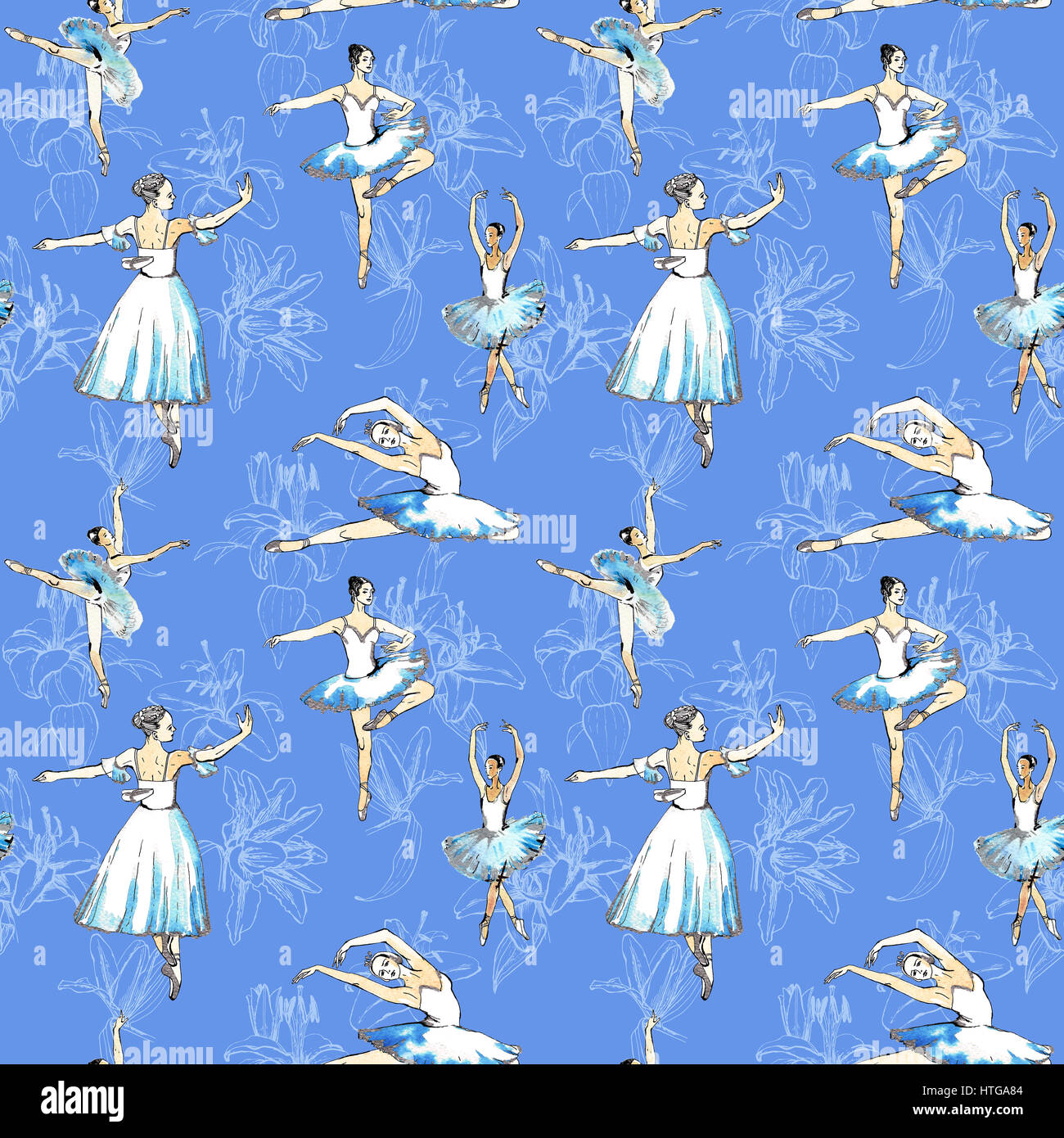 Seamless pattern of ballet dancers royalty free stock photography - Seamless Pattern Of Ballet Dancers And White Lilies Black And Silver Drawing Watercolor Painting