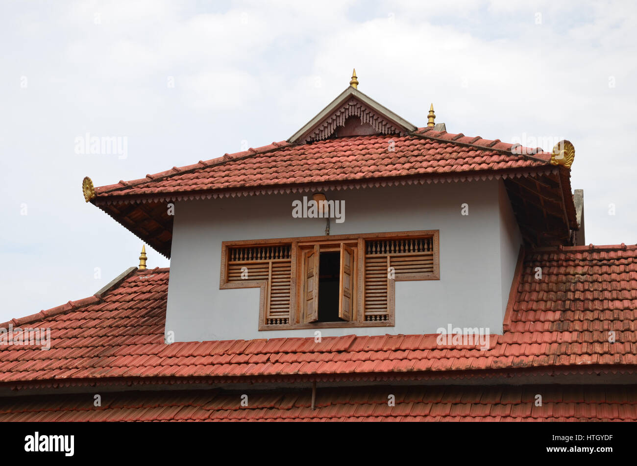 Traditional Architecture Of A Tiled Roof House In Kerala Using Stock Photo Royalty Free Image