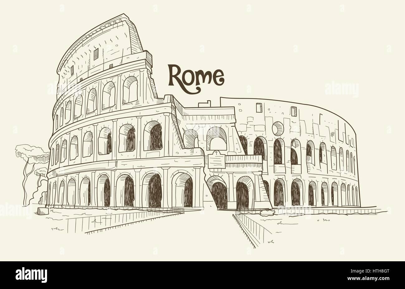 Colosseum, Vector Illustration, Hand Drawn, Sketch Stock