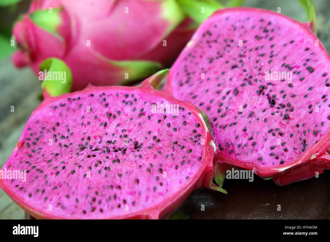 Eating Dragon Fruit, A Tropical Fruits, Vietnam Agriculture Product, With  Purle, Pink