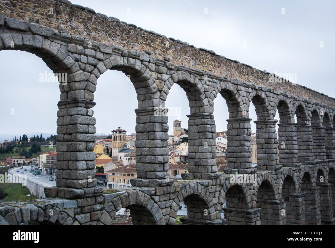 a view to famous ancient roman aqueduct of segovia and old