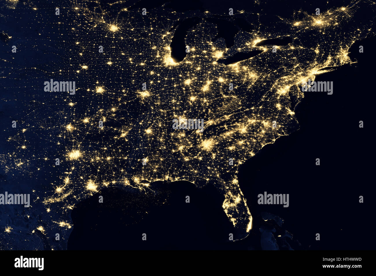 City lights on world map North America Elements of this image