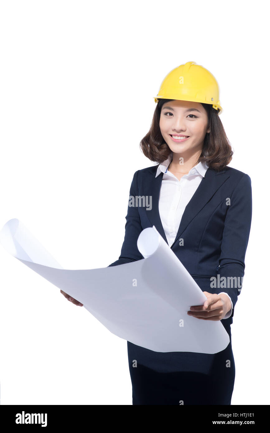 Architect Student portrait of architect student woman with blueprints protect