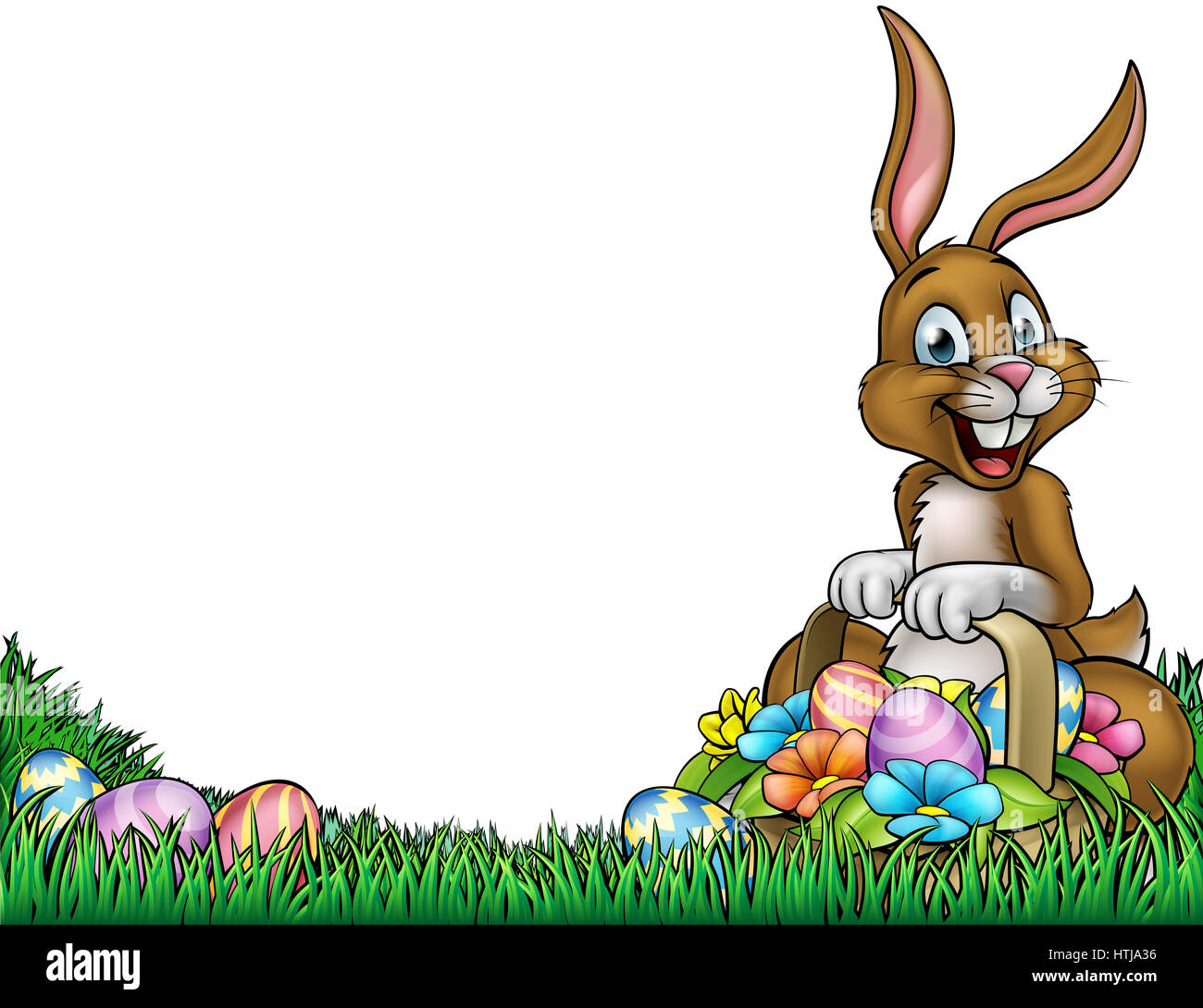 An Easter Background Frame Border Cartoon With A Bunny Holding A Basket  Full Of Easter Eggs