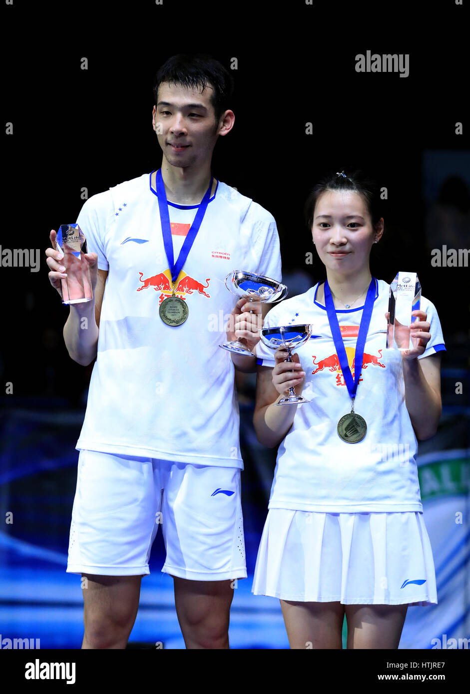 China s Kai Lu and Yaqiong Huang on the podium after victory over