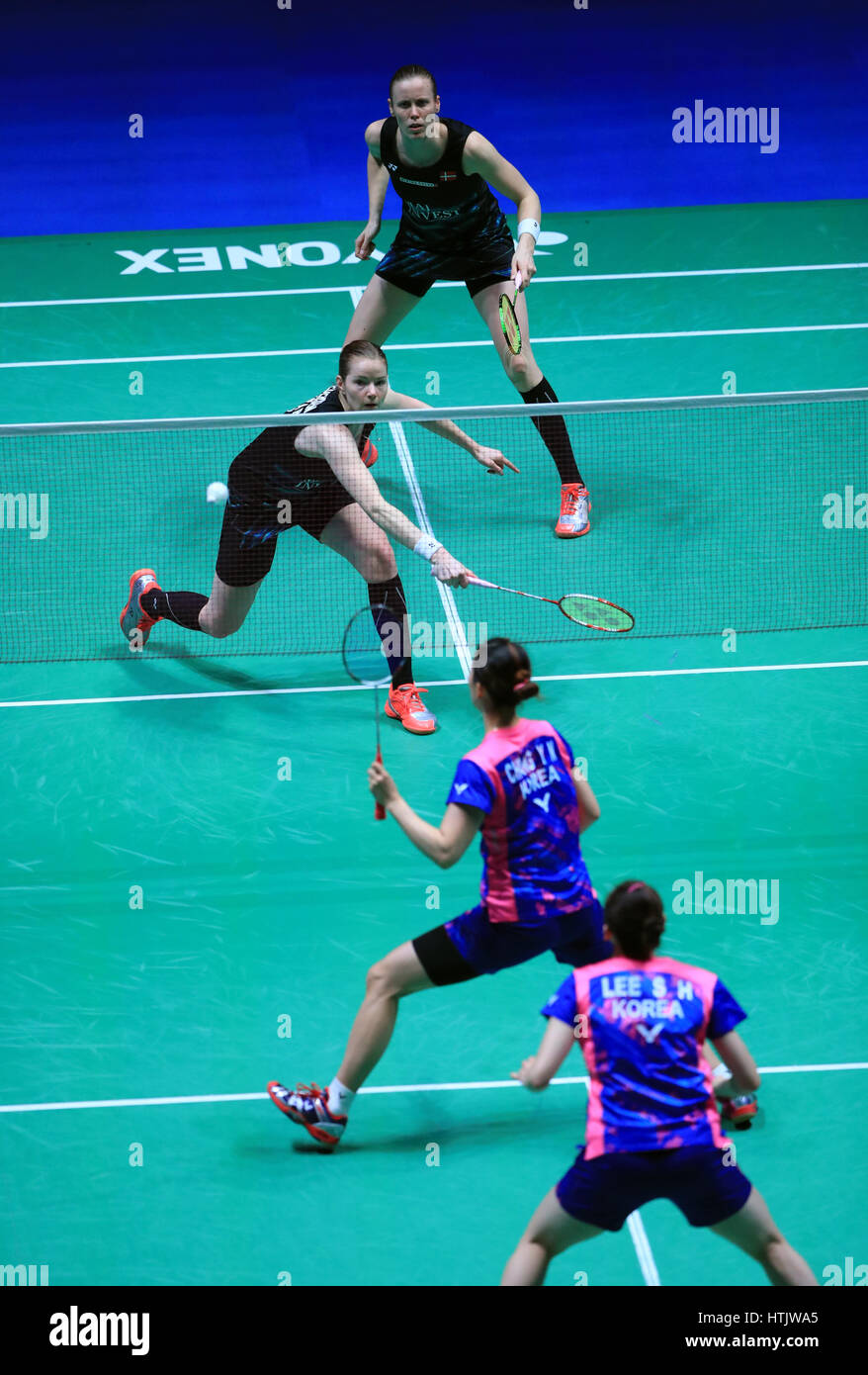 South Korea s Lee So Hee and Chang Ye Na below take on Denmark s