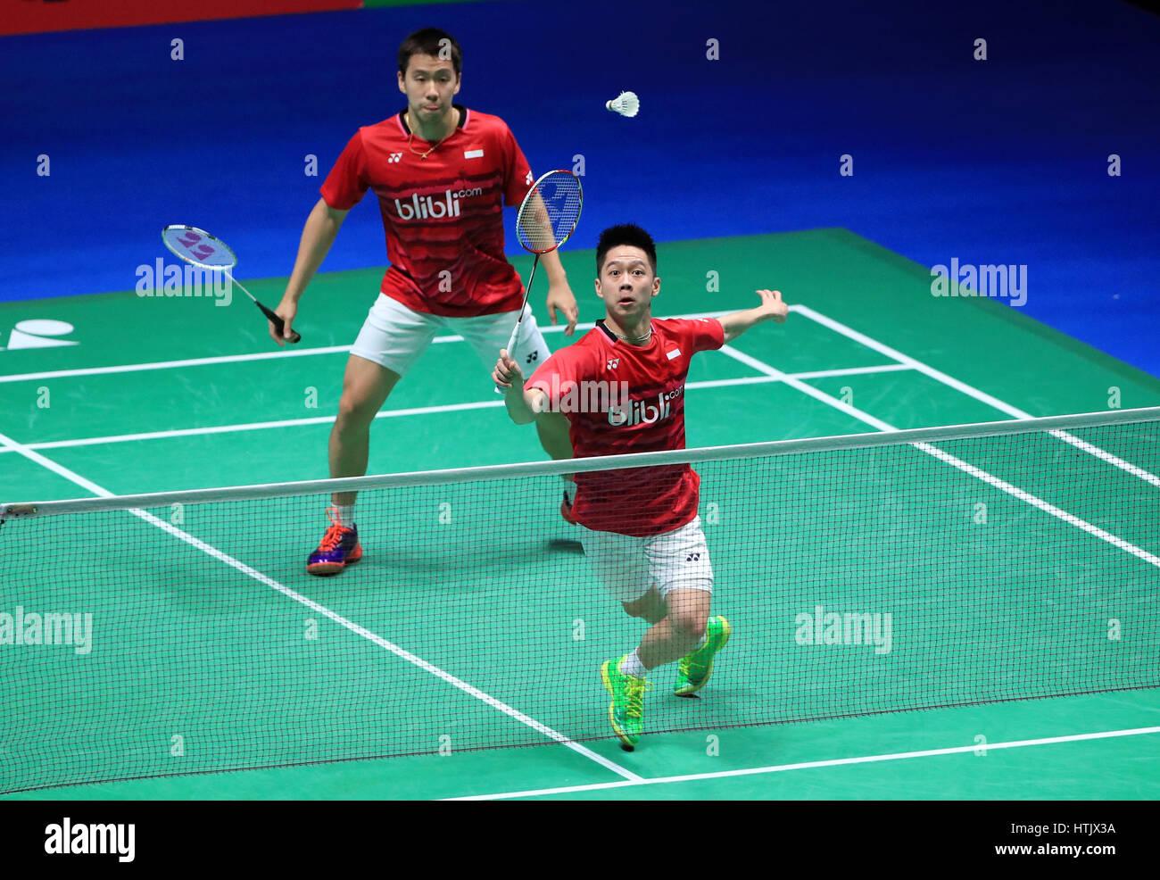 Indonesia s Marcus Fernaldi and Kevin Sanjaya against China s Li