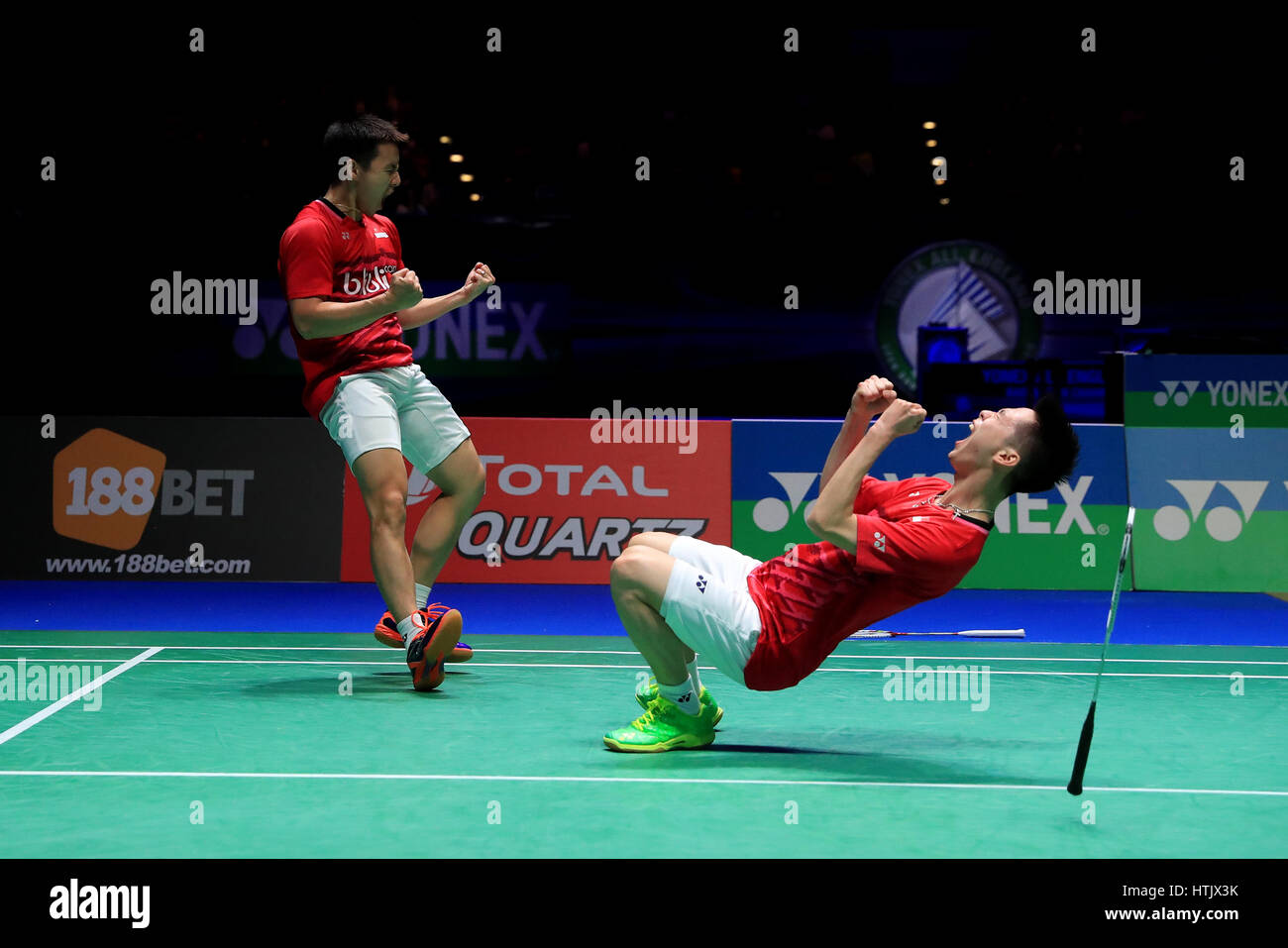 Indonesia s Marcus Fernaldi and Kevin Sanjaya celebrate victory