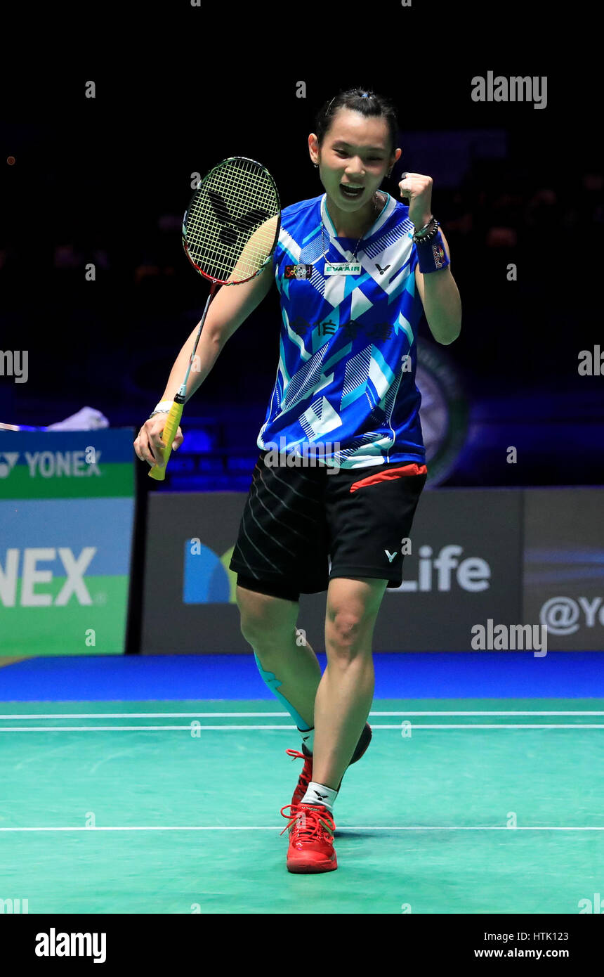 Chinese Taipei s Tai Tzu Ying celebrates a point against