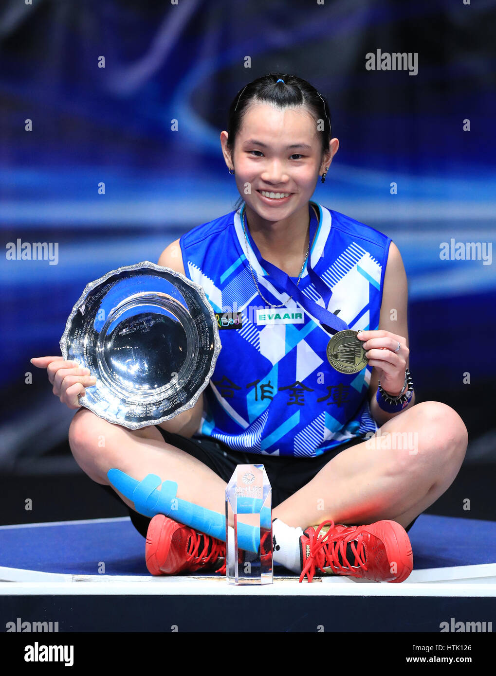Chinese Taipei s Tai Tzu Ying on the podium after victory over