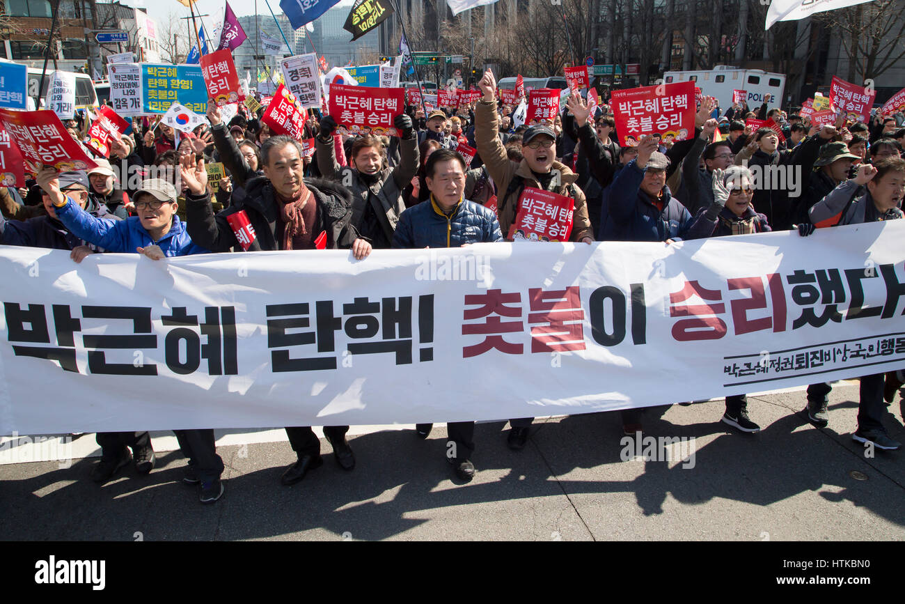 south korea politics, mar 10, 2017 : people march toward