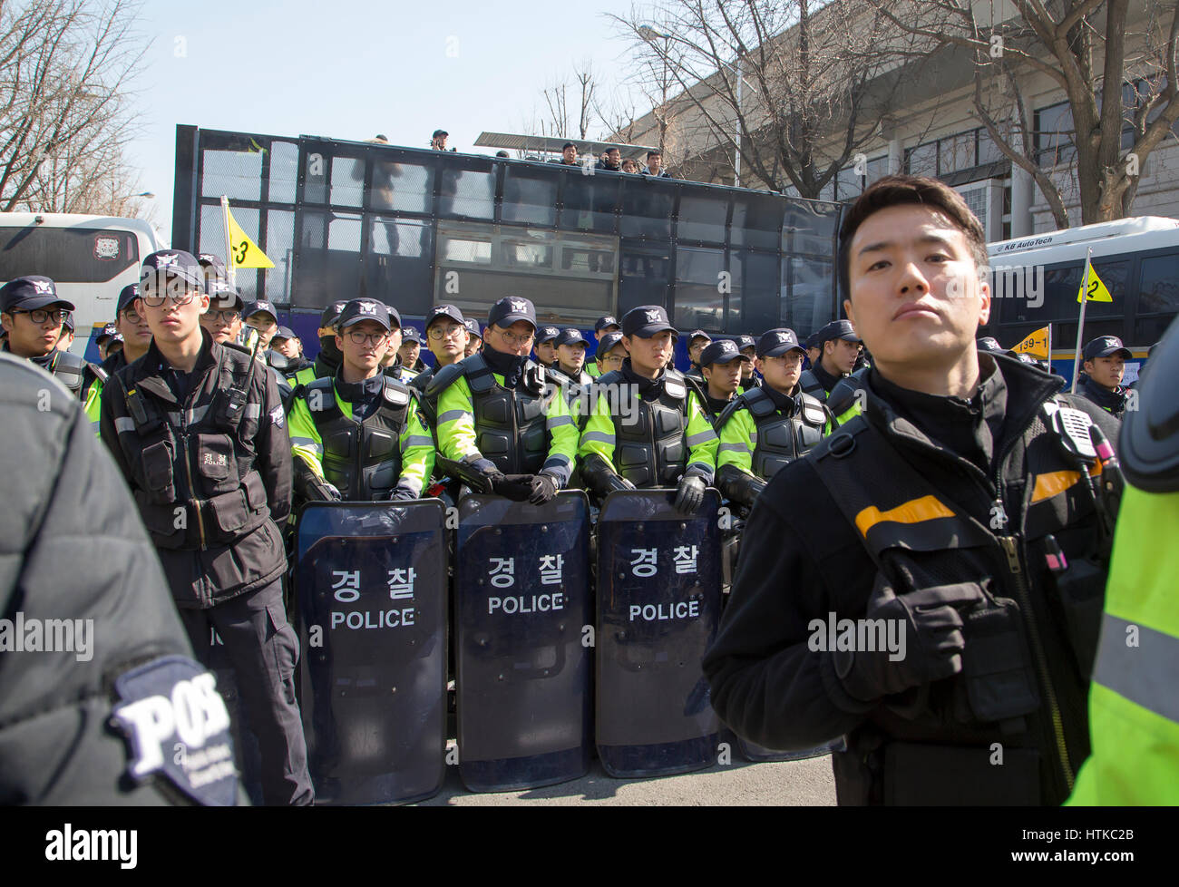 south korea politics, mar 10, 2017 : policemen block the road near