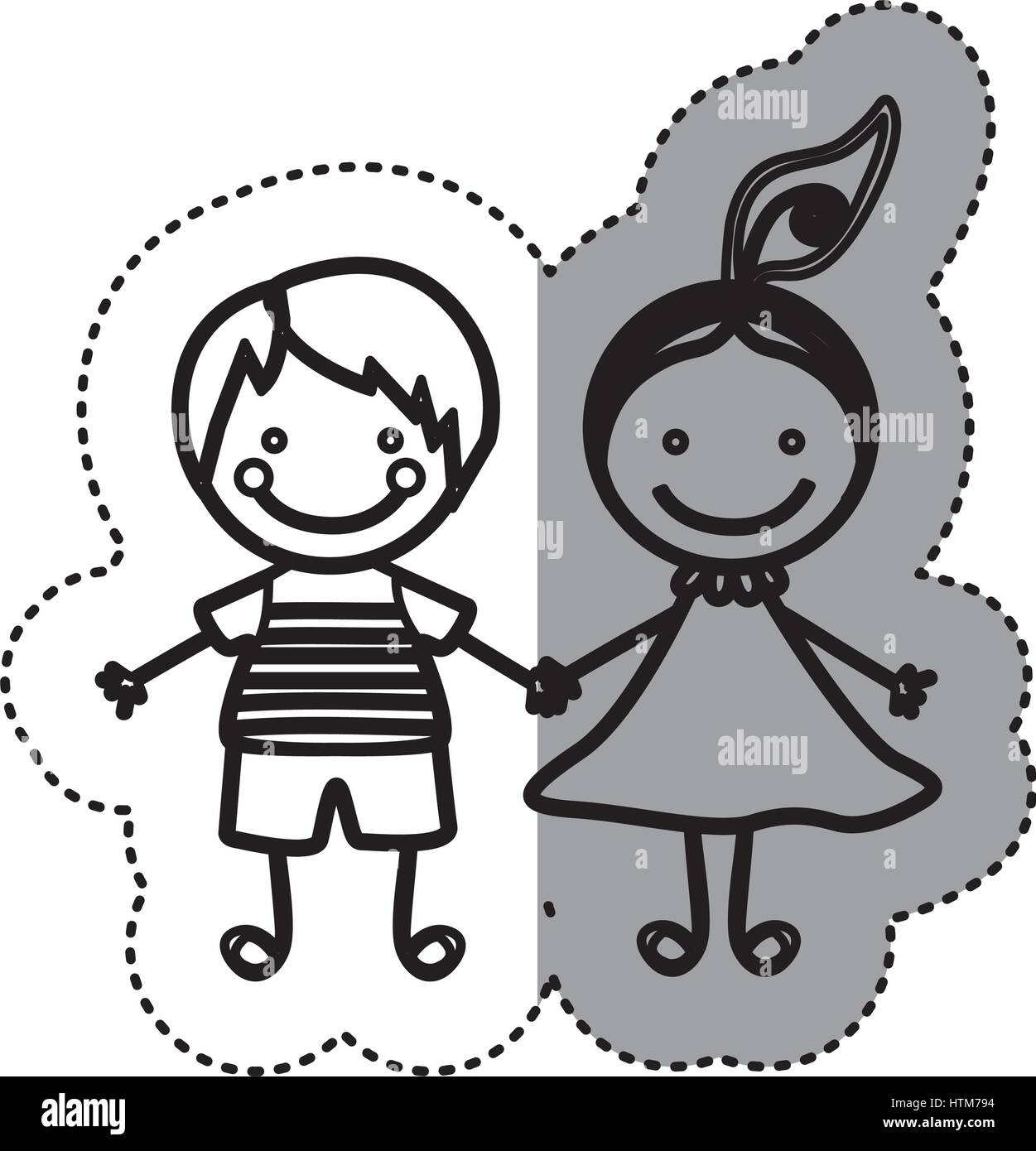 sticker sketch silhouette caricature couple boy and girl with hair ... for Couple Sticker Line  111ane