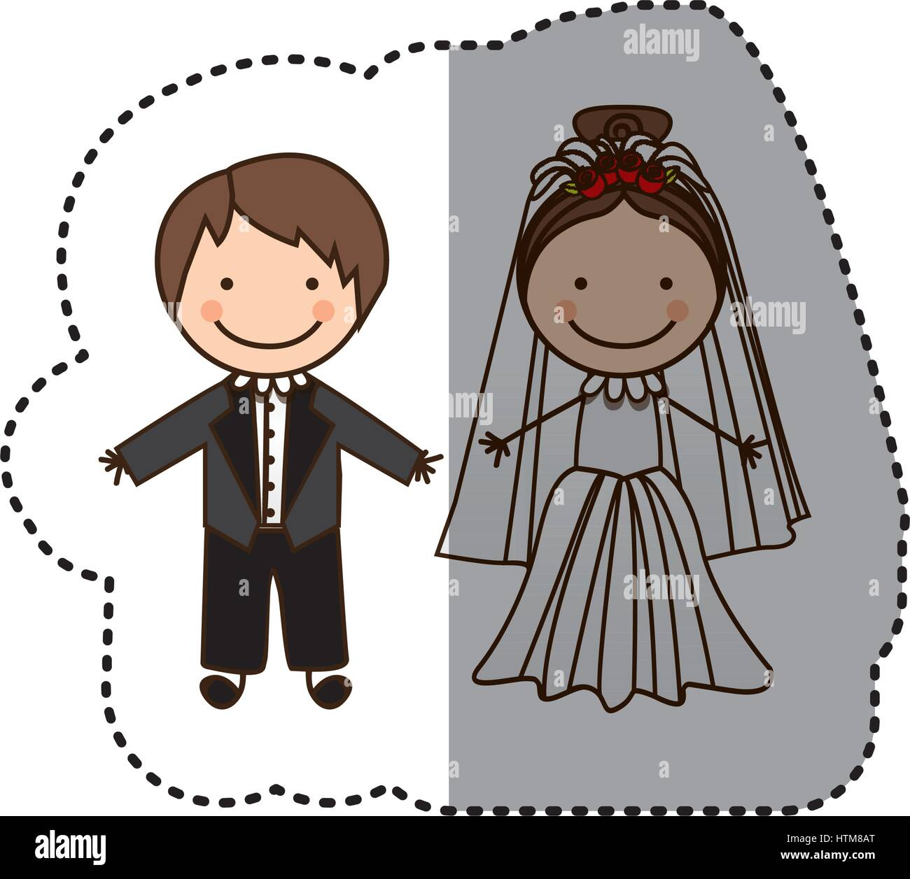 sticker colorful caricature married couple Stock Vector Art ... for Couple Sticker Line  110yll