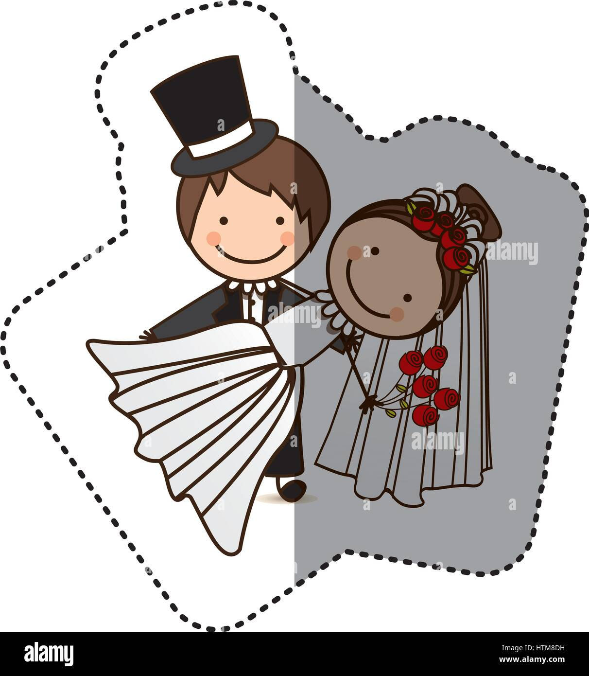 sticker colorful caricature couple wedding icon Stock Vector Art ... for Couple Sticker Line  117dqh