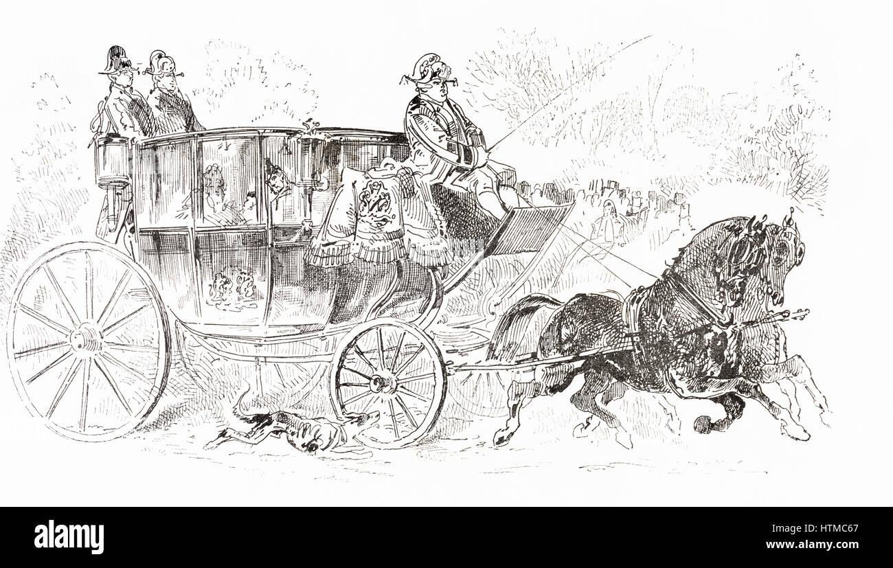 A 19th Century Horse Drawn Carriage From Albumevenement, Prime Du Journal  L'evenement, How To Draw
