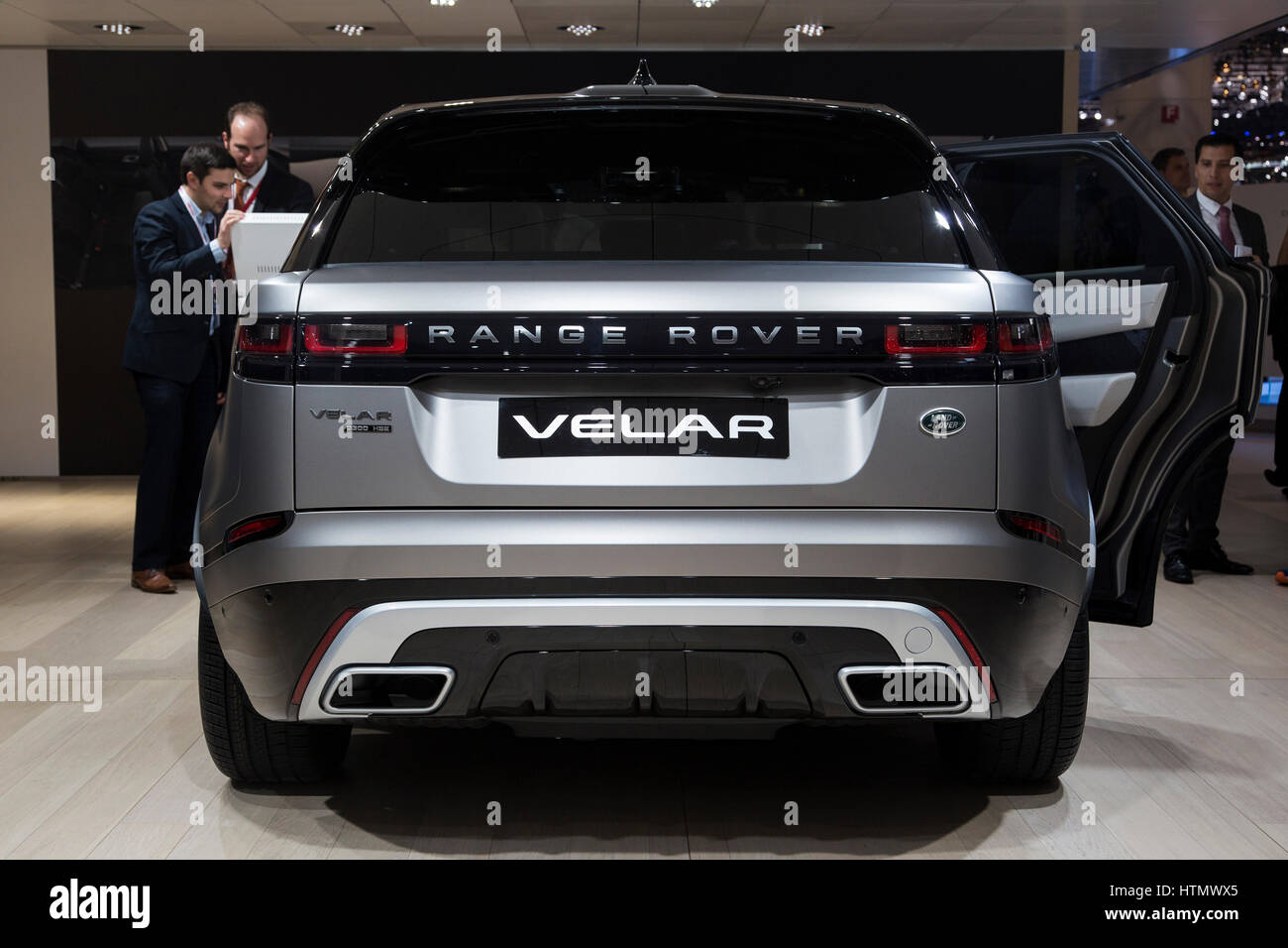 Range rover velar at the 87th international geneva motor show stock image