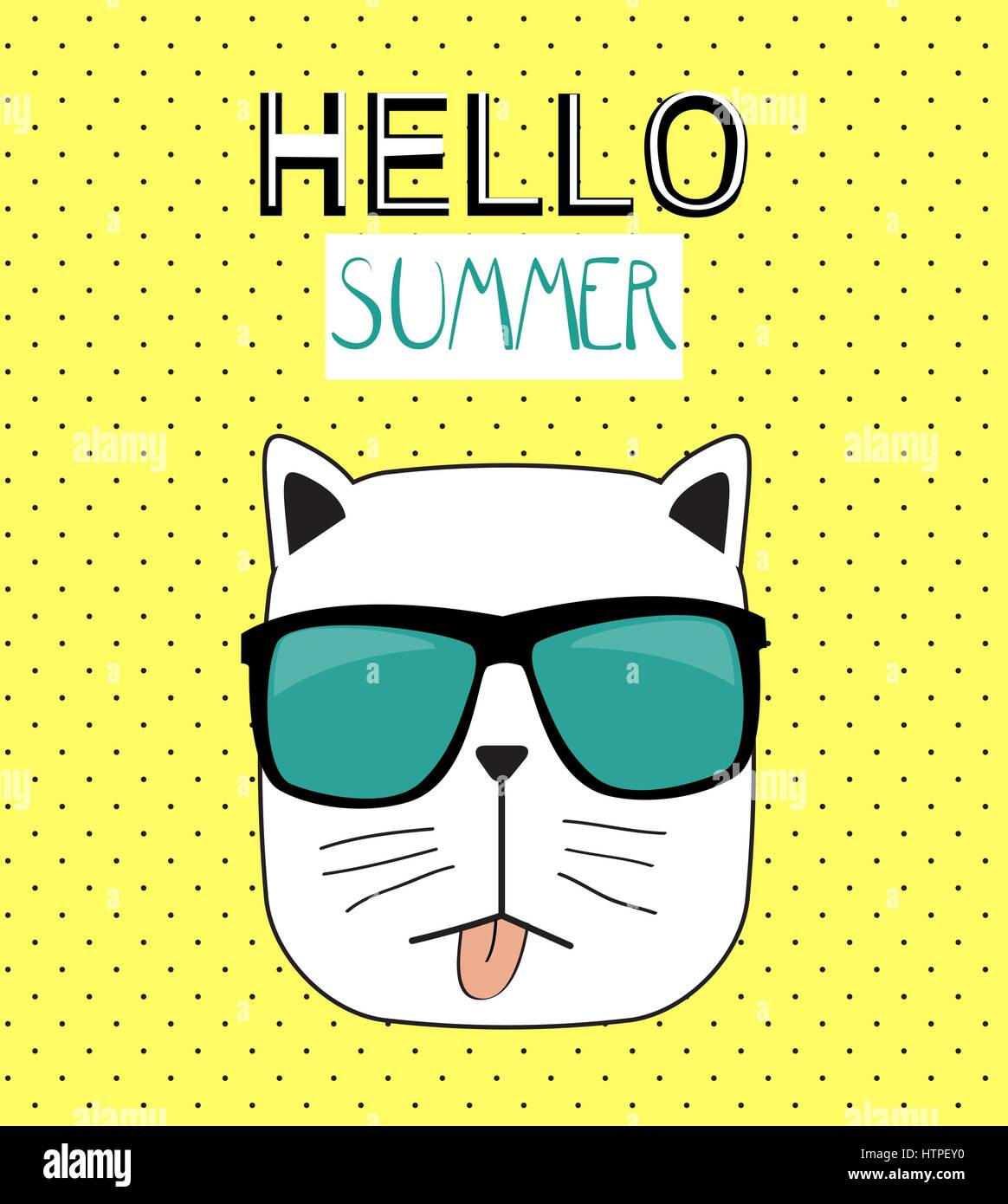 Hello Summer Background With Funny Hand Drawn Cat. Vector Illust